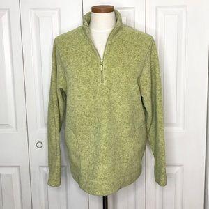 LLBean green 1/4 zip heavyweight fleece pullover